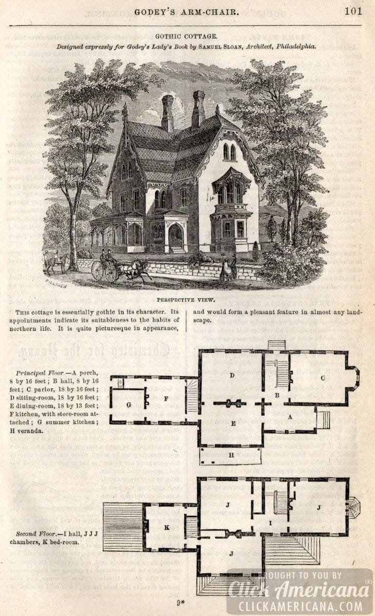 Classic home design gothic cottage 1862 click americana for Gothic cottage plans