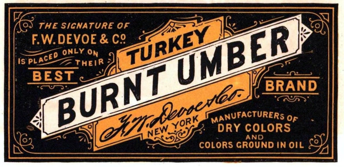 Turkey Burnt Umber paint label