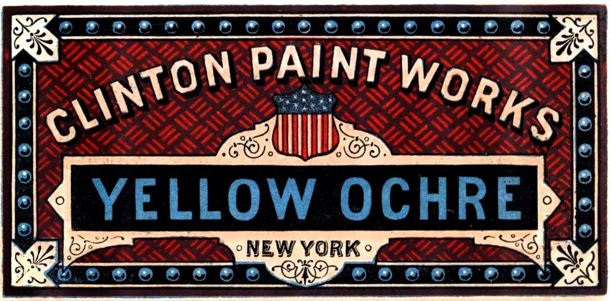 Yellow Ochre paint label - Clinton paint works