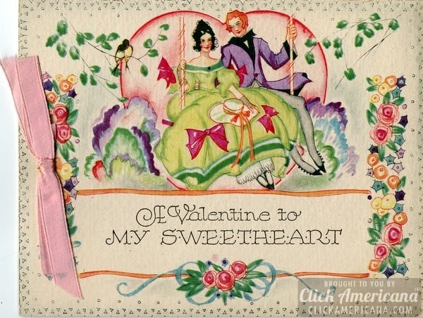 Vintage Valentine cards with ribbon Click Americana – Old Fashioned Valentine Cards