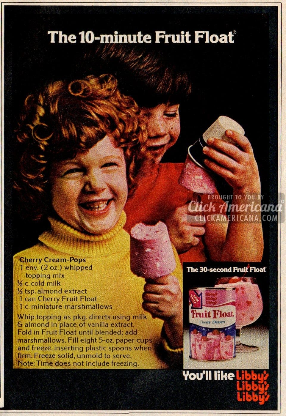 Cherry Cream Frozen Pops with Fruit Float (1974)