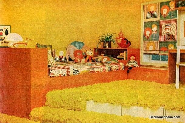 Small bedroom idea: Shag carpet & platforms (1976) - Click Americana