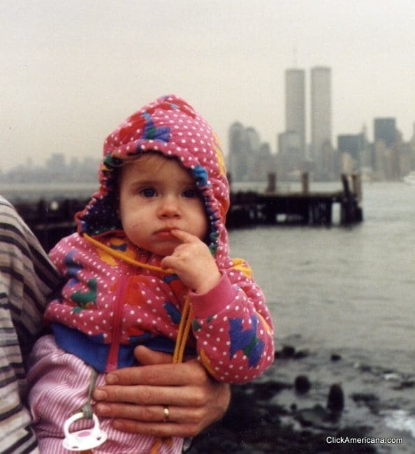 New York skyline from Statue of Liberty (1995) - Baby and World Trade Center