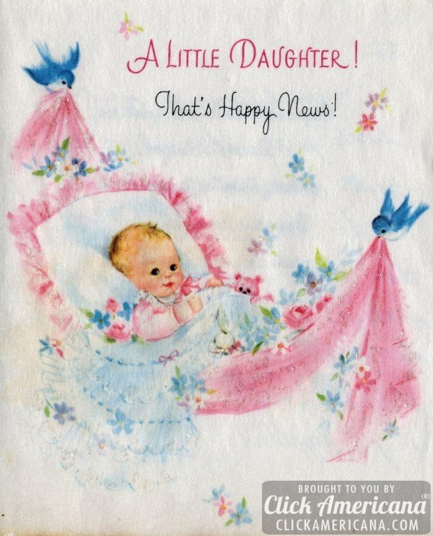 Congrats on your baby girl: Vintage cards from 1969 - Click Americana