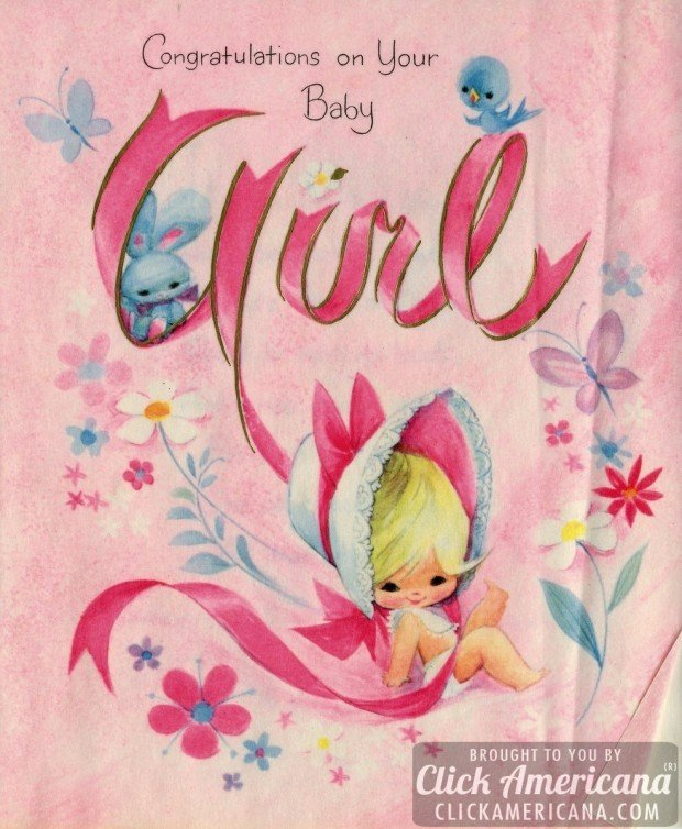 Congrats on your baby girl vintage cards from 1969 click americana