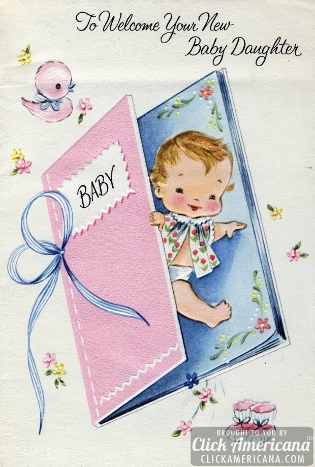congrats on your baby girl  vintage cards from 1969