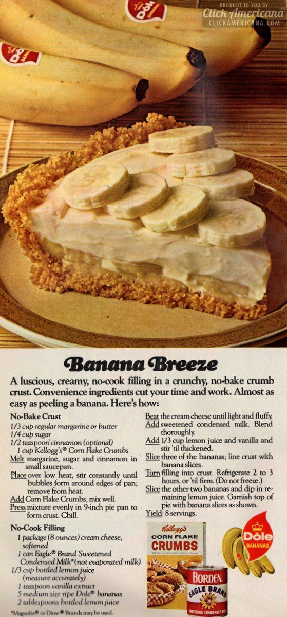 Banana Breeze no-bake pie (1974)