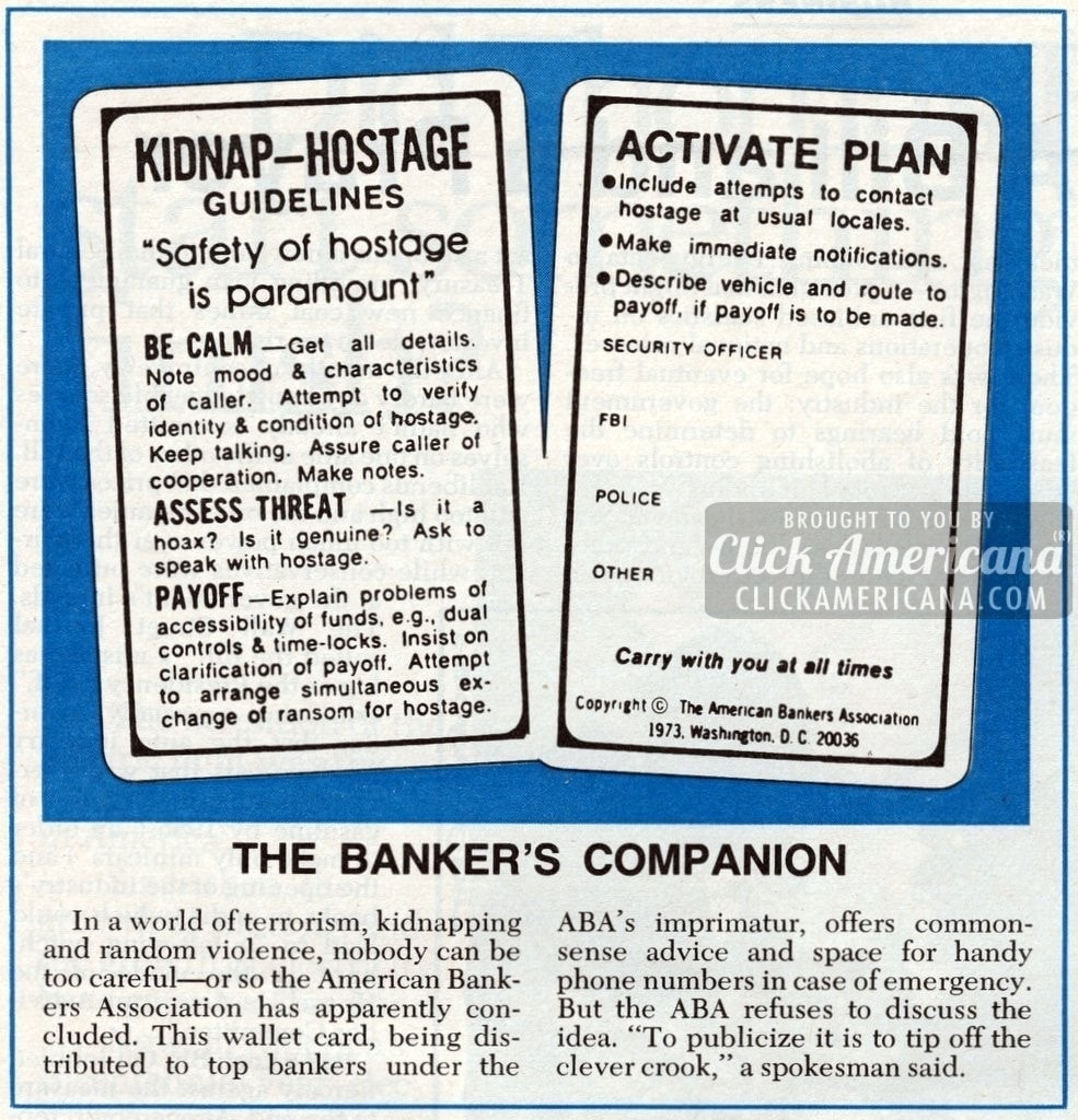 Kidnap-hostage guidelines for banks (1976)
