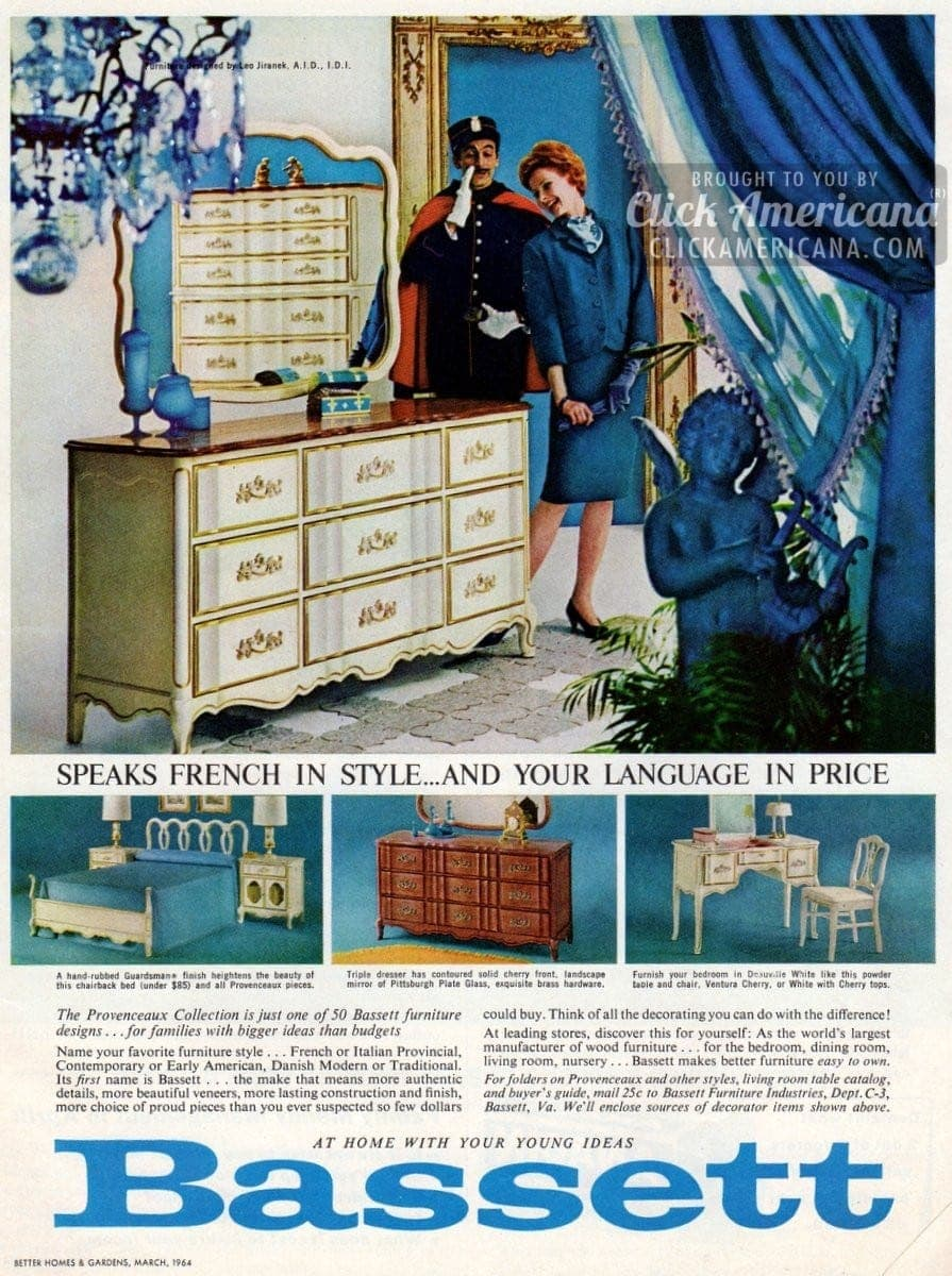 Provencaux bedroom furniture from bassett 1964 click - Bassett bedroom furniture 1970 s ...