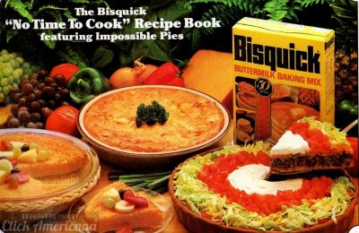 12 easy dinner recipes & desserts from the Impossible Pie recipe booklet (1982)