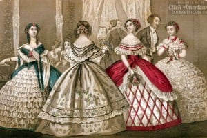 Elegant Victorian dresses from 1859, from antique fashion magazines – with authentic color schemes