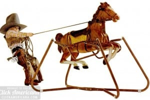 Wonder horse! See vintage ride-on spring horse toys from the 1960s