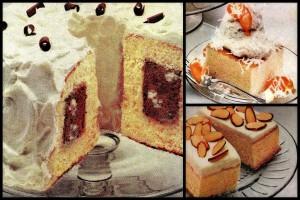 3 easy vintage dessert recipes: Chocolate tunnel cake, Honey almond squares & Peach snowball (1982)