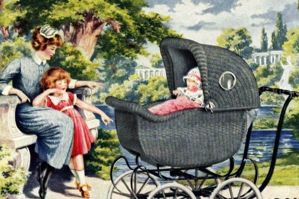 Antique baby carriages and old-fashioned strollers at Click Americana