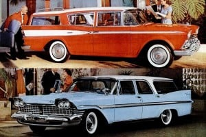 See some huge classic '50s station wagons, with fins & rear-facing back seats