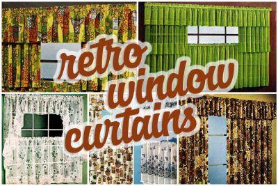 Hundreds of short retro window curtains cafe curtains 1970s