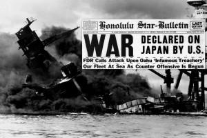 Headlines & photos: Japan bombs Pearl Harbor in Hawaii – US declares war & joins WWII (1941)