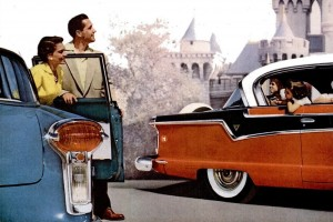 Check out some classic Nash Ambassador cars from '56 and '57, plus scenes of old Disneyland