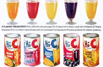 Old-fashioned Hi-C drink flavors, like grape, cherry, orangeade & others
