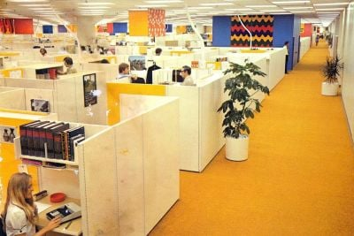 Old office cubicles and retro open plan office layouts from the 70s