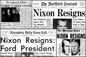 Nixon's resignation: Headlines from the President's last days in office, and a look at how the Watergate scandal made history (1974)
