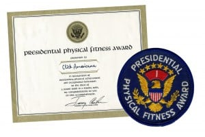 Presidential physical fitness award badges, certificates & tests required to make the team (1966-1987)