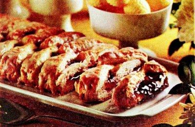 Raspberry-cream cheese coffee cake (1970)