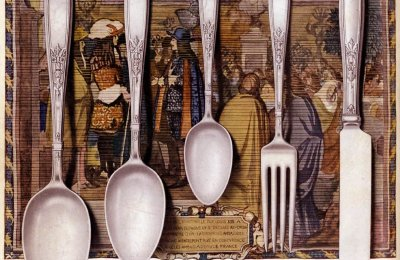 So much silver! See antique sets of 1847 Rogers Bros silver plate cutlery in dozens of patterns