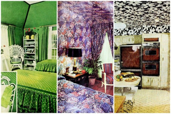 How to wallpaper a ceiling, plus 12 colorful examples of this retro '70s home decor trend