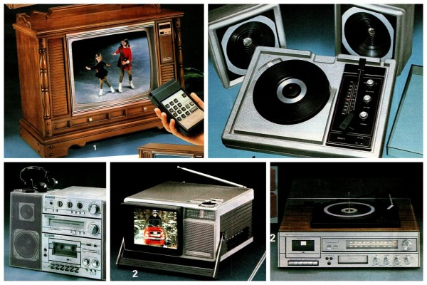 Vintage '80s home stereo systems, personal stereos, TV sets and more