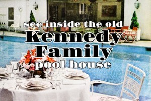 See the Kennedy family pool house at Hickory Hill, where Bobby's kids grew up (1970)