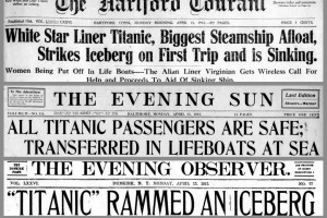 Titanic: Newspaper front pages with the first stories of the disaster on April 15, 1912