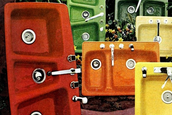 See colorful vintage kitchen sinks of the '60s & '70s