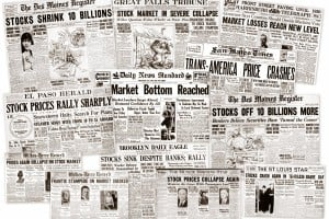 The Great Depression: Newspaper headlines from the 1929 stock market crash