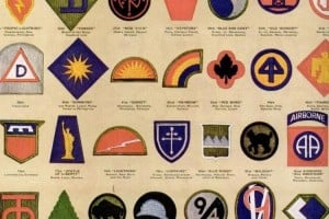 US Army & Navy shoulder insignia, plus WWII military medals & ribbons
