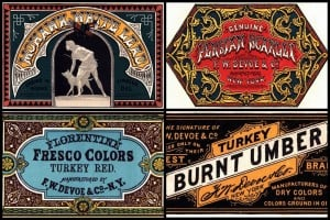 Victorian graphic design: Stylized paint labels (1870s & 1880s)