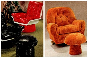 Vintage '70s toadstool ottomans & gull-wing chairs, in wet-look vinyl & plush