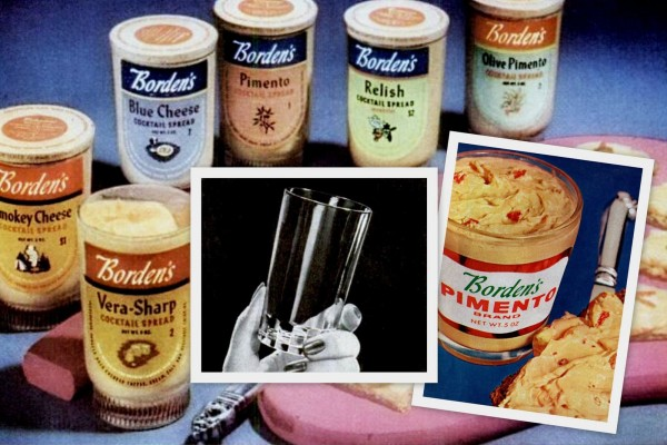 Vintage Borden's cheese spreads came in free collectible party glasses & crocks