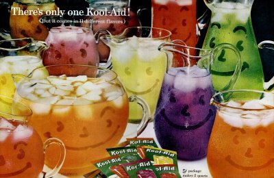 Oh yeah! Vintage Kool-Aid soft drink powdered mix, from the '30s to the '90s – plus all the flavor names