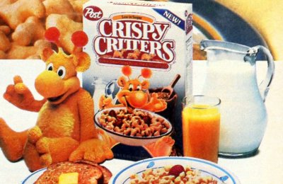 Vintage Crispy Critters cereal from Post had animal-shapes (1987)