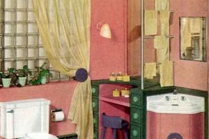 A retro restroom rainbow: Colorful modern bathrooms (1949)