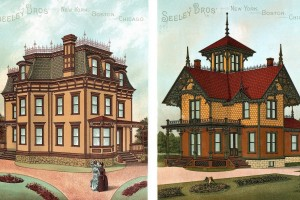 See some popular exterior color schemes for 18 Victorian houses (1886)