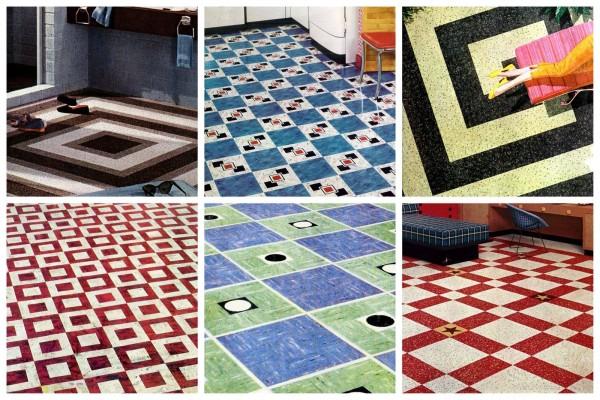 Vintage home style 1950s vinyl floor tiles in square patterns