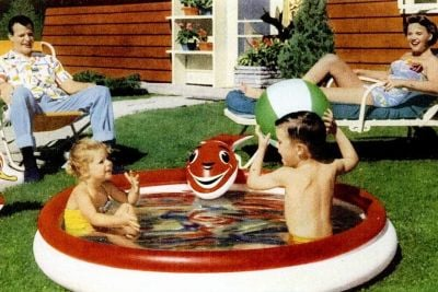 Vintage kiddie swimming pools and inflatable backyard wading pools for children
