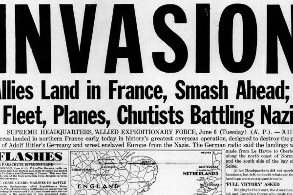WWII newspaper headlines from the D-Day invasion of France (1944)