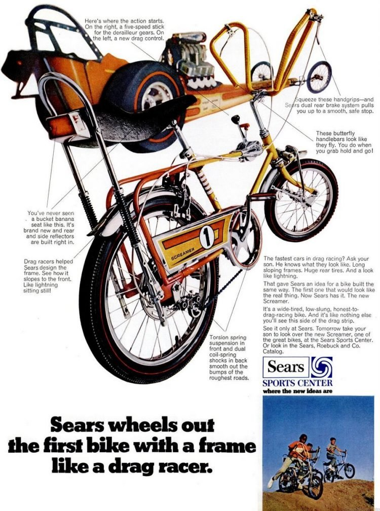 Vintage banana seat bikes with a frame like a drag racer (1969)