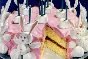 Marshmallow bunny birthday cake