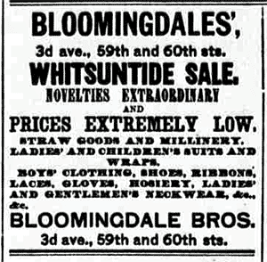 Antique Bloomingdale's ads (1886, 1887 & 1889)