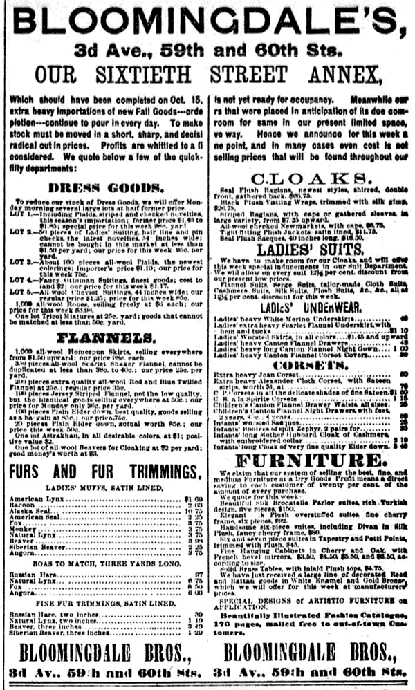 Bloomingdale's ads from 1887
