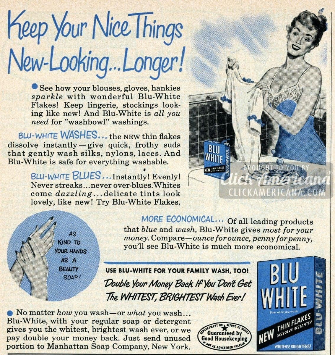 See Blouses Gloves Hankies Sparkle With Blu White 1950 Click Americana